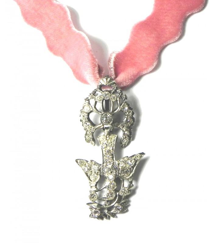 Croix Normande du Saint Esprit en argent et strass