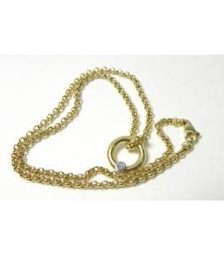 Actuel collier jaseron or et diamant
