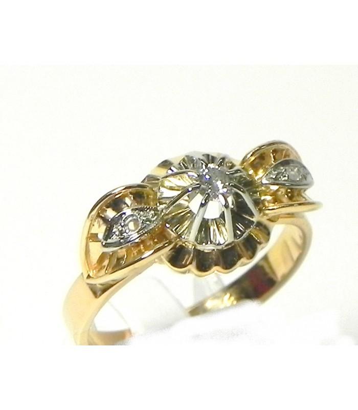 Belle bague pont des années 30 or, platine, diamants