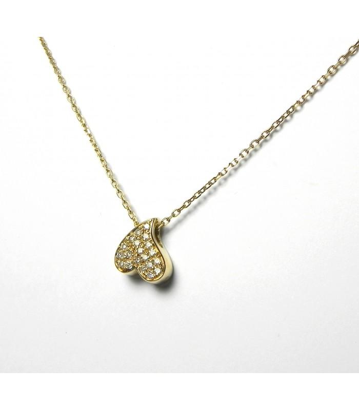 """""""Cœur à l'envers"""" Ensemble chaine et pendentif or diamants"""