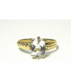 """Belle aigue-marine"" ovale sur bague or"