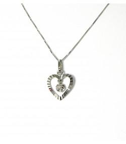 Cœur Rayonnant, ensemble chaîne et pendentif or blanc diamant