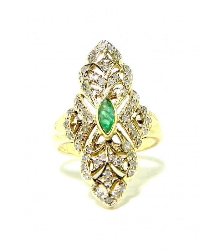 Marquise Dentelle or,diamants émeraude