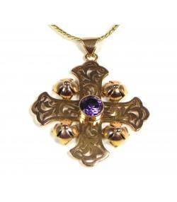 Belle croix or 14 kt et pierre violette