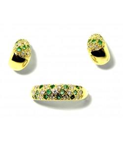 Belle parure bague et boucles d'oreilles or émeraudes diamants