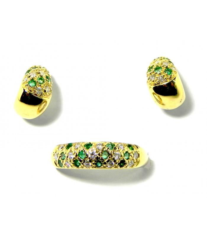 dernière vente comment acheter dernières conceptions diversifiées Belle parure bague et boucles d'oreilles or émeraudes diamants
