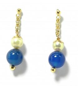 Clous d'oreilles perles de culture et d'agate bleu sur or