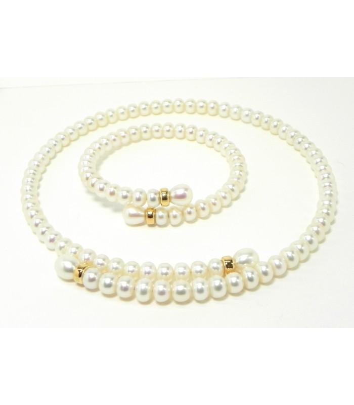 """""""Douceur du Levant"""" parure collier - bracelet aux 111 perles et or"""