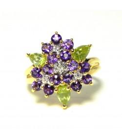 """""""Bouquet de violettes"""" bague améthystes péridots or et diamants"""
