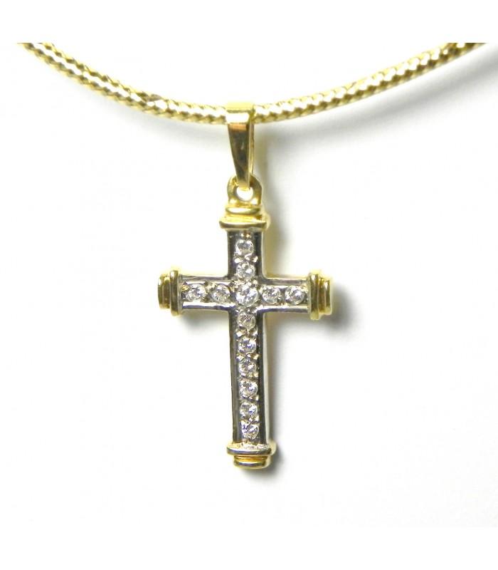 """""""Jeannette"""" Croix or bicolore aux 13 diamants"""