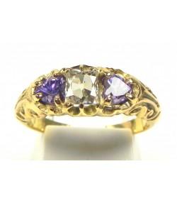 Bague ancienne or diamant et améthystes