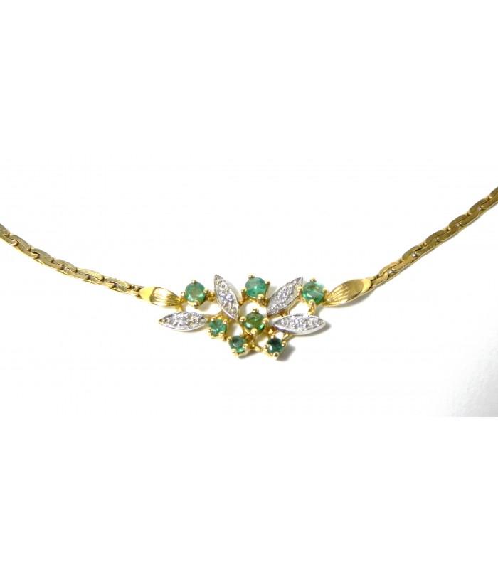 """""""Brin de feuillage"""" collier or émeraudes et diamants"""