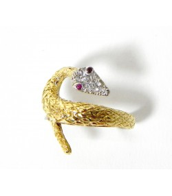 """Energie"" bague serpent or diamants et rubis"