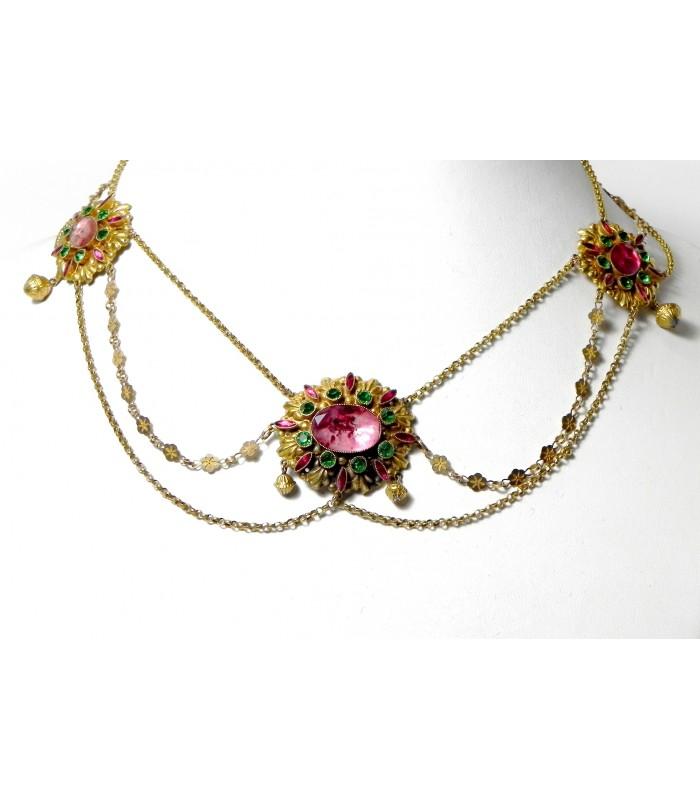 """""""La Rochelloise"""" collier draperie aux environs de 1820 en or et verre"""