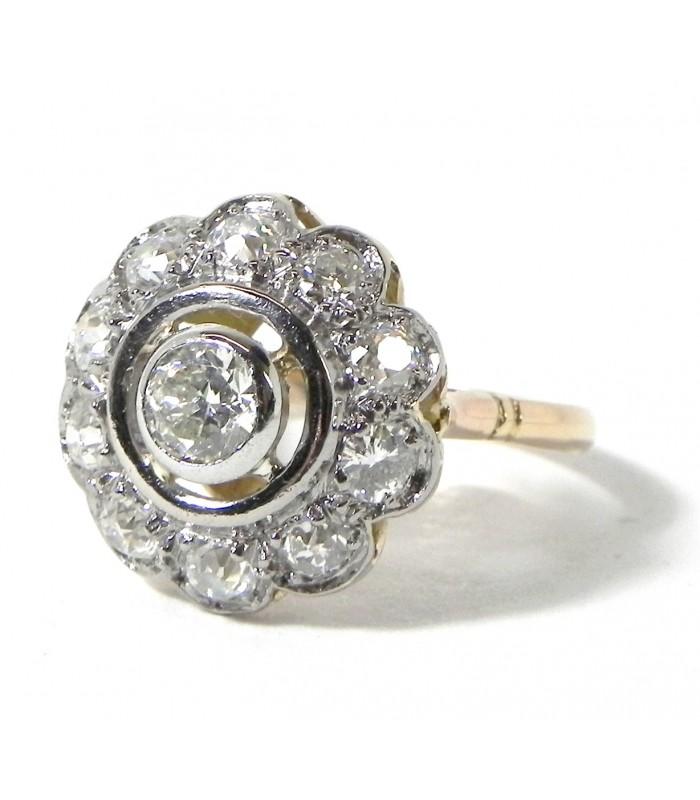 """""""Marguerite aux diamants"""", bague or platine et diamants"""
