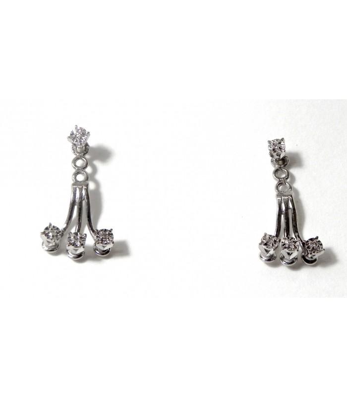 """""""Trilogie de diamants"""" en pendent d'oreille or blanc"""