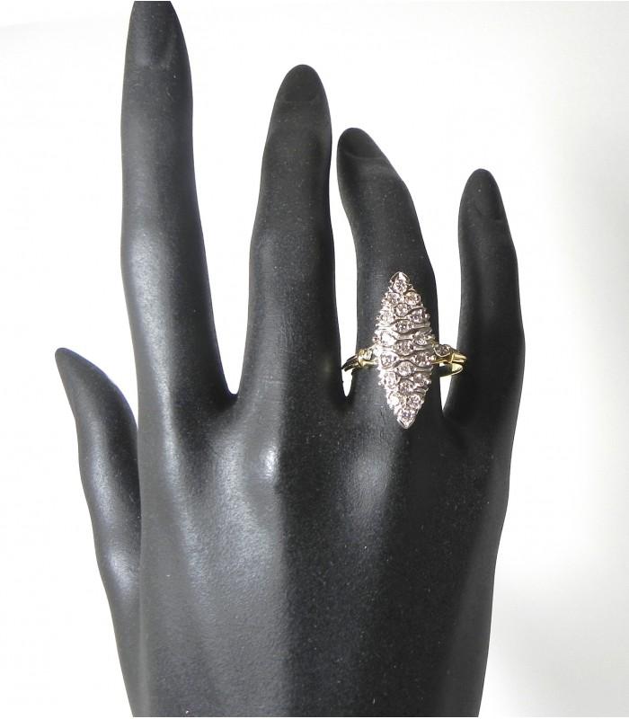 """""""LA GRANDE"""" Bague marquise aux 21 diamants et or bicolore"""