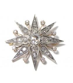 """""""ETOILE DES NEIGES"""" Exceptionnelle broche argent sur or et diamants"""