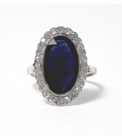 """ELEGANTE 1900"" Bague or gris, saphir et diamants"