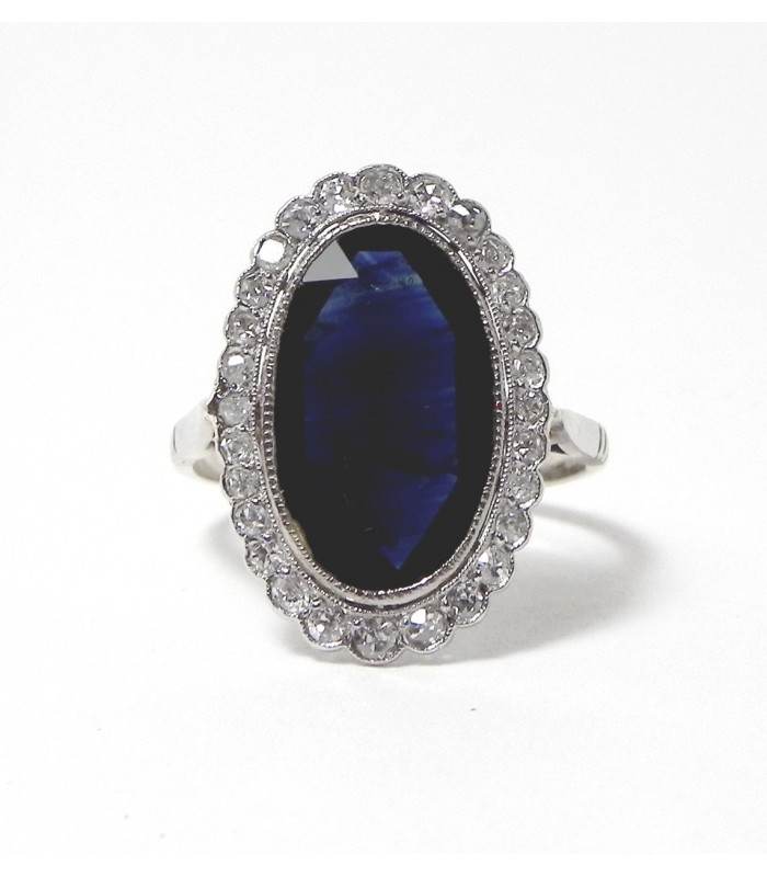 """ELEGANTE 1900"" Bague or gris, saphir et diamants"