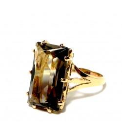 """""""Morion"""" Bague rectangulaire, quartz fumé et or 750"""