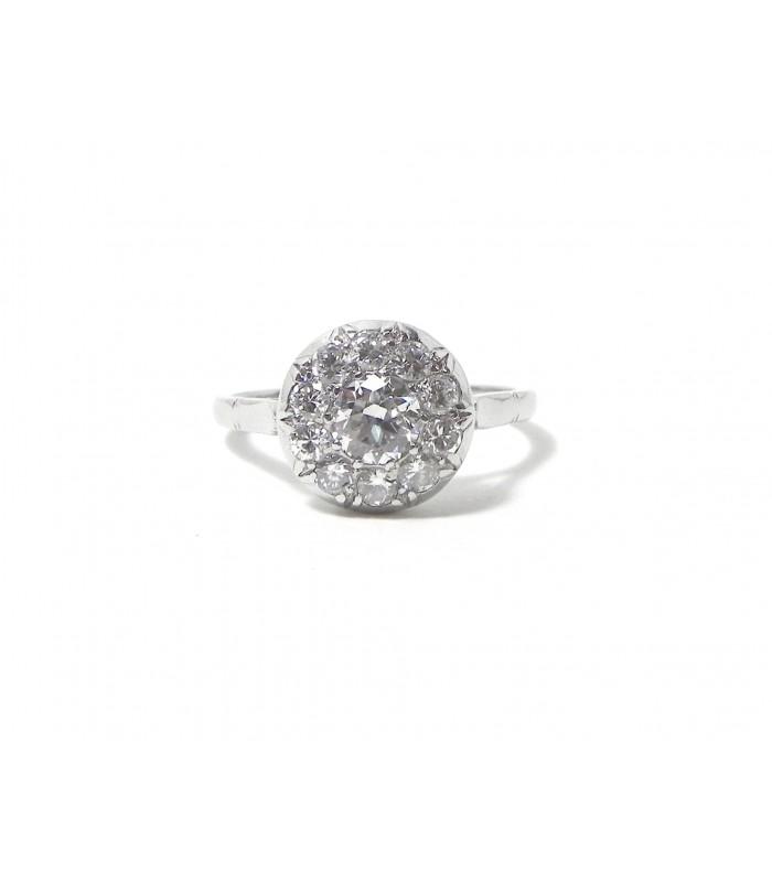 """""""Promesse Belle Epoque"""" Bague en platine et 11 diamants"""