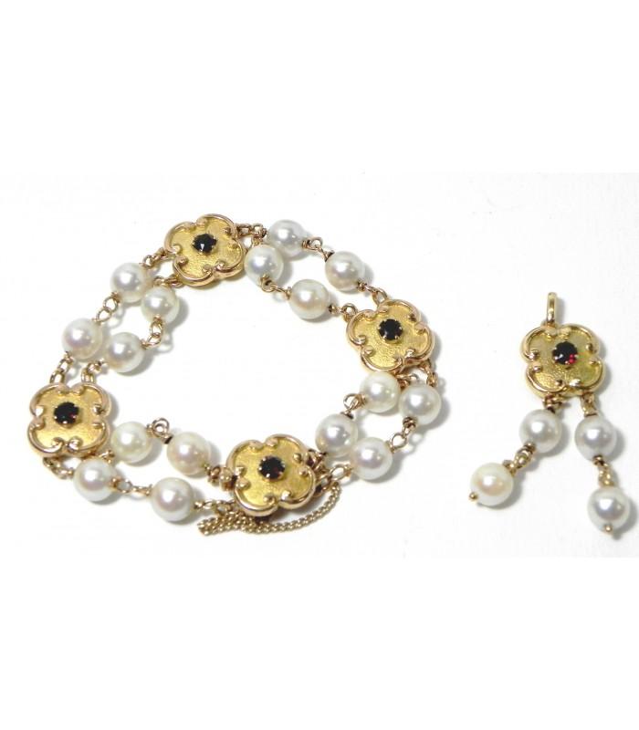 """""""Florentina"""" Parure Bracelet et Pendentif OR Perles et Grenats"""
