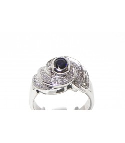 """Tourbillon de diamants"" bague or blanc diamants et saphir"