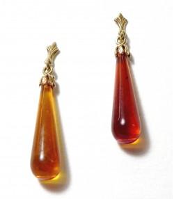 """""""GOUTTES DE MIEL"""" Boucles d'oreilles en ambre , monture or 750"""
