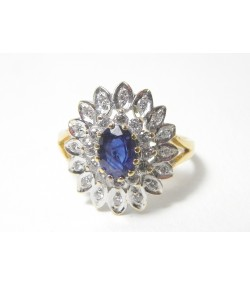 """PRINCESSE MARGUERITE"", bague or 750 bicolore, double entourage de diamants et saphir PROMO - 10%"