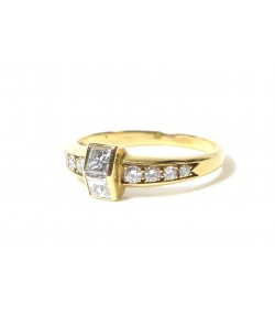 """OH"" bague moderne en or jaune et beaux diamants ""radian"""