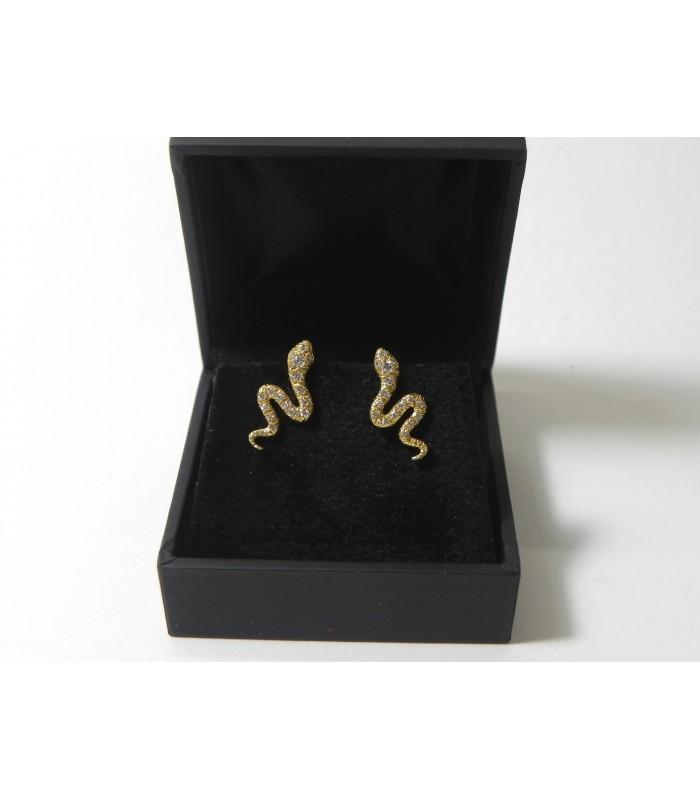 """""""DIAMANTS SINUEUX"""" Boucles d'oreilles serpents en or et diamants"""