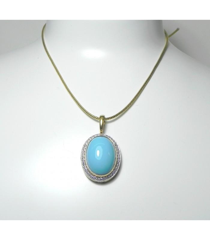 """""""COULEUR ADIN"""" Création Unique! Pendentif or, 43 diamants et turquoise d'Israel PB 13,3 gr"""