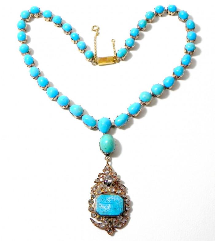 """L'IRANIENNE"""" Exceptionnel collier ancien en turquoises, diamants et vermeil PB 52 gr"""
