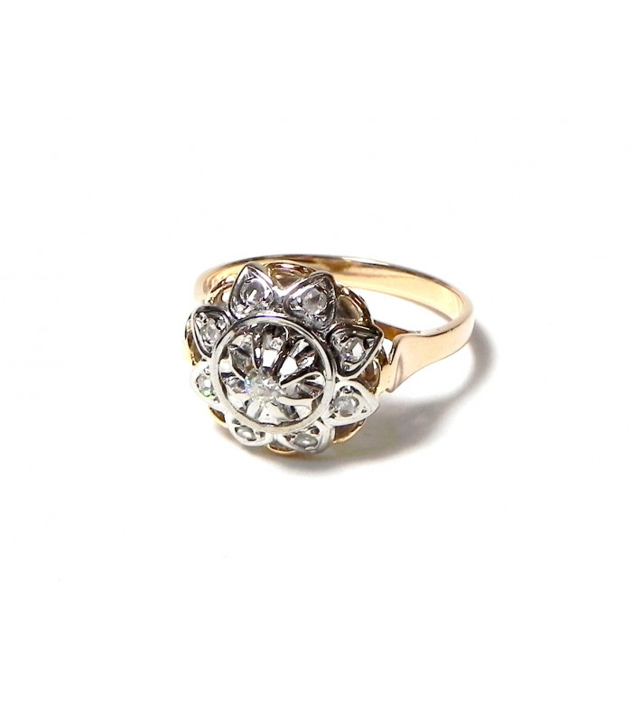 """""""ROSACE DIAMANT"""" Magnifique bague des """"années 30"""" or 750 bicolore et diamants"""