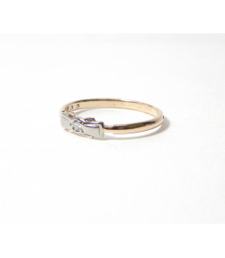 """NINA Premier Diamant"" Ancienne Bague de fillette or 14 kt rose et blanc diamant"