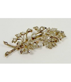 Broche provencale ancienne or/argent diamants