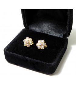 """""""ROSETTE """" Boucles d'Oreilles début Xxème or rose 750°/°° perles et diamants"""