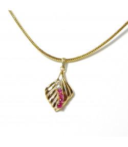 """FEUILLE PRECIEUSE"" Pendentif feuille or 750 diamants et rubis PB 2gr"