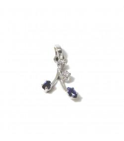 """""""PRINTEMPS AU CACHEMIRE"""" Pendentif en or blanc 750 Saphirs Diamants PB 0,91 gr"""