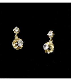 """""""DORMEUSES A GRAND-MAMAN"""" Boucles d'oreille or 750 bicolore et pierres blanches PB 2gr"""