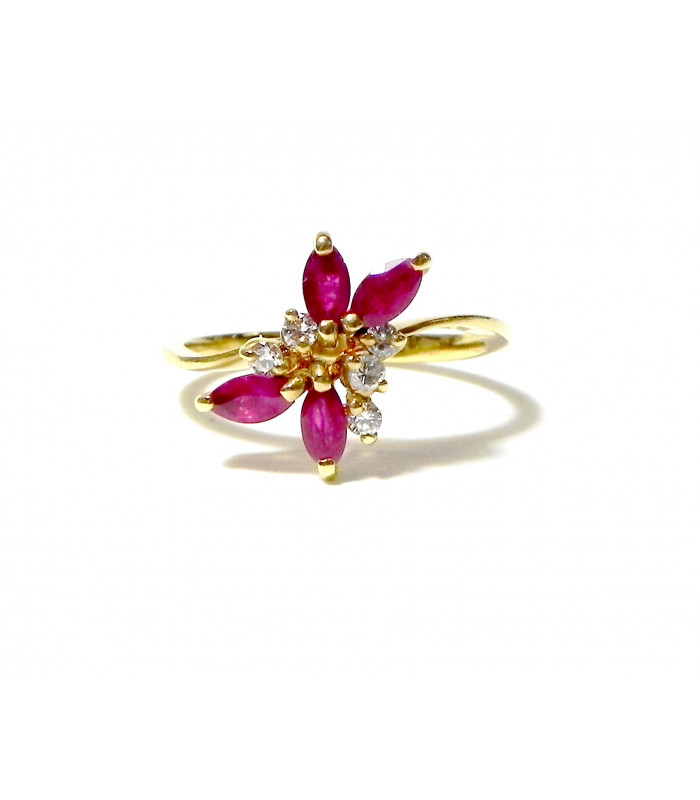 """RUBIS PETALES' Bague vintage or jaune, rubis et diamants PB 2,95 gr"