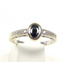 Originale Bague or gris, saphir et diamants