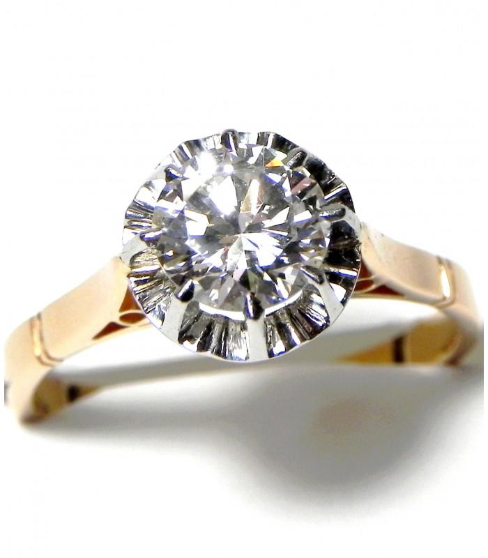 """KIMBERLEY"" Superbe bague ancienne solitaire diamant environ 1,35 carats or 18 kt et platine PB 4,75gr"