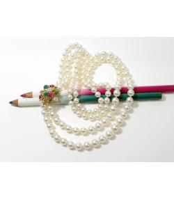 """JACKY"" Merveilleux collier double rangs 129 perles Akoya, or 750 diamants émeraudes et rubis PB 79,25gr"