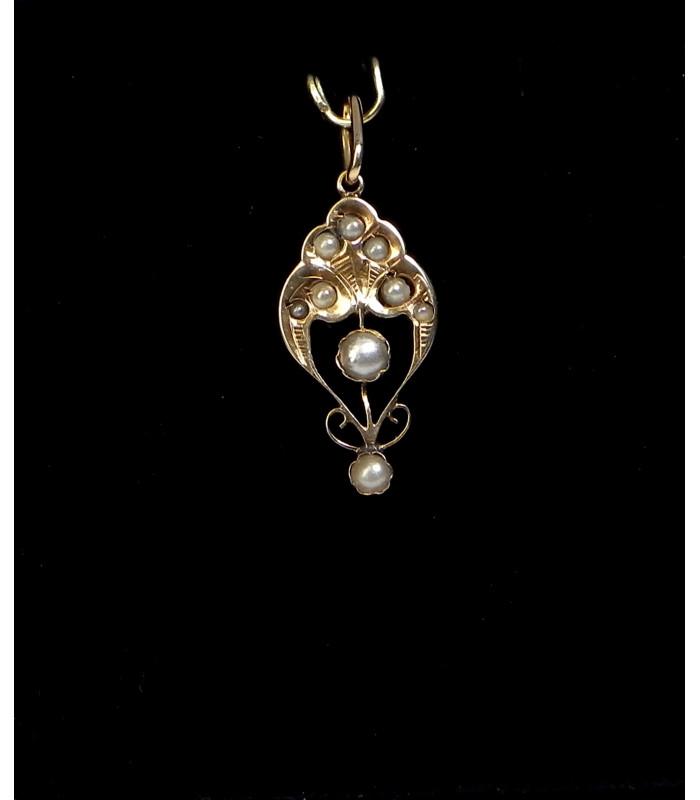 """""""ELEONORE"""" Ravissant pendentif romantique fin XIXème en or 18 kt et perles PB1,3gr à 178 €"""