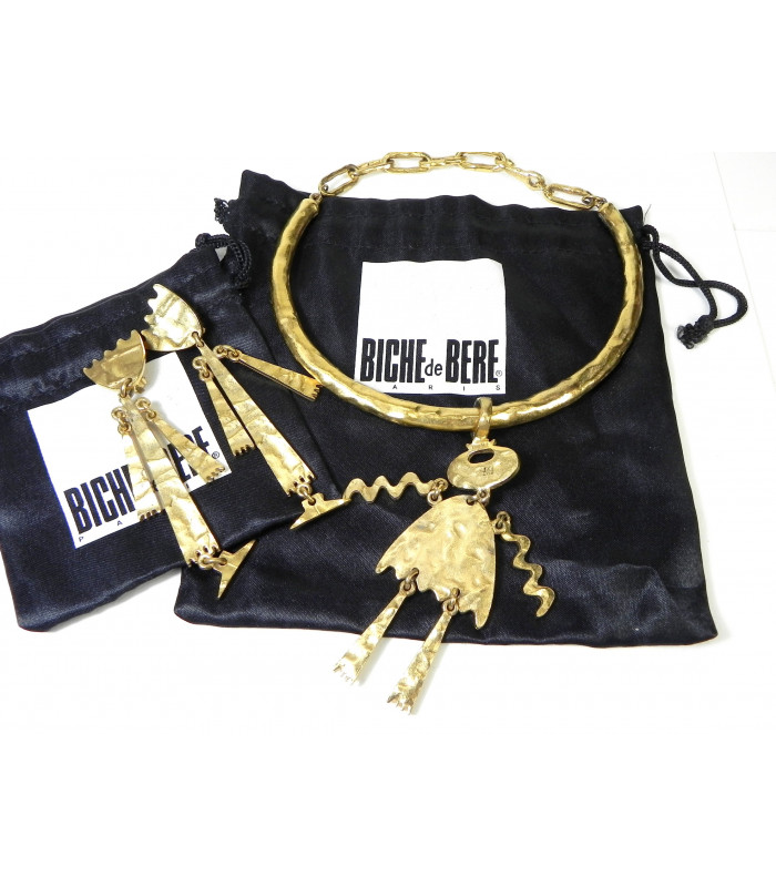 """""""BICHE"""" Parure Biche de Bere collier et bo clips métal façon bronze doré"""