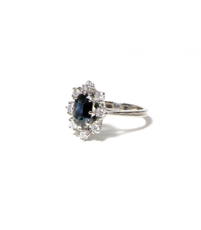 """""""CAROLINE"""" Bague marguerite or blanc 750 diamants et saphir PB 4,6 gr à prix exceptionnel !"""