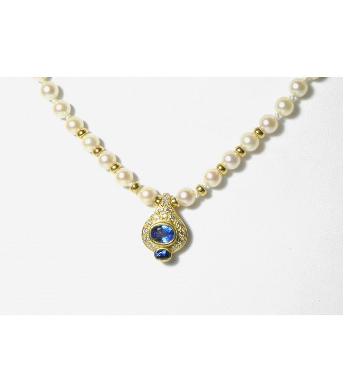 """""""BAL A VIENNE""""PRIX Exceptionnel : Collier joaillerie perles de culture , or 750 , saphirs , diamants PB 18,14gr"""