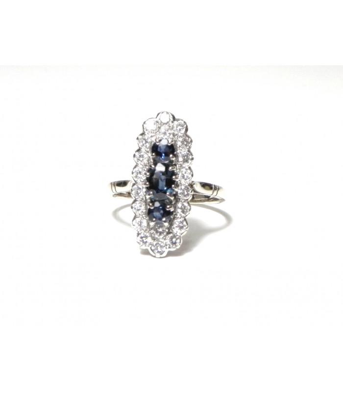 """""""DIANA"""" Noblesse Bague or blanc diamants et saphirs PB 4,54 PRIX EXCEPTIONNEL"""